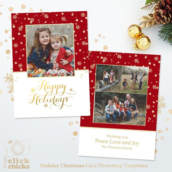 Holiday Card Template For Photographers Christmas Photoshop