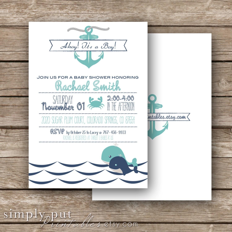 Nautical Baby Boy Shower Invitation Whale Theme Baby Shower