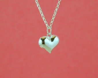 sterling silver charm - 1pc or more - puffed heart pendant - sterling puffed heart charm - silver heart - sterling puff heart  pendant
