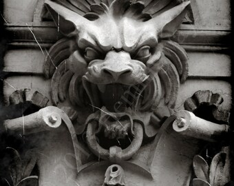 "Gargoyle Statue Sculpture Photo - 8""x10"" Matted Fine Art Photograph New York City Gothic Eerie Aged Old Dark"