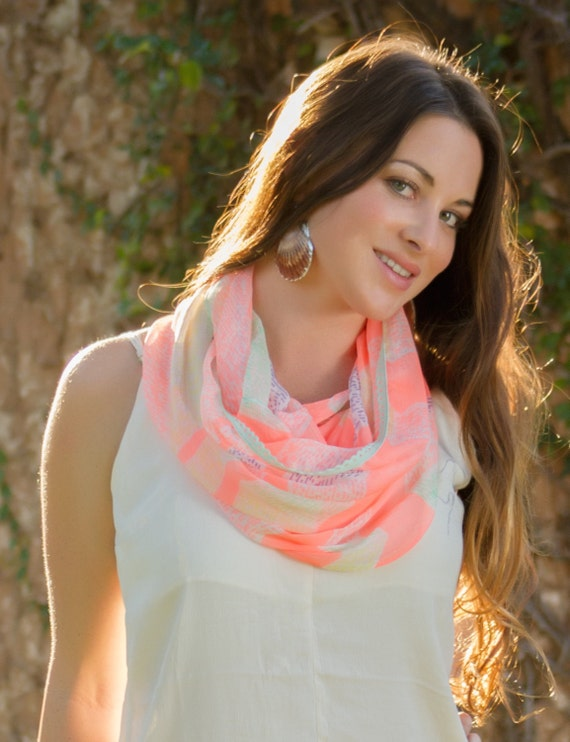 Infinity Scarf, Coral Chevron Infinity Scarf, Light Summer Scarf, Spring fashion Scarf, Coral Scarf w Mint Purple White, Spring Accessories