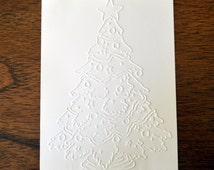 8 Embossed Christmas Tree Cards, Blank Christmas Note Cards Set, Embossed Holiday Cards, Handmade Christmas Stationery, Christmas Cards Set