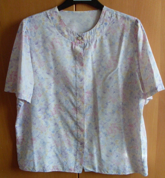 Vintage floral blouse silky pastel button down by for Pastel pink button down shirt