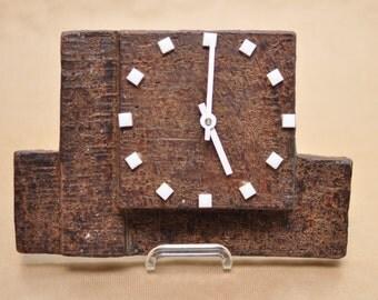 Kienzle stoneware clock - West German pottery - vintage clock - Architectural ceramic - brutalist