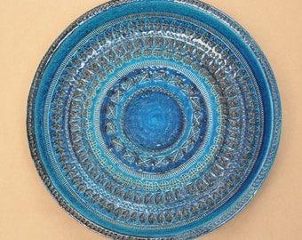 Aldo Londi for Bitossi - XL charger - Rimini Blu - Large bowl 14 inches or 35 cm - Italian pottery - 1960s - ceramic - blue - Italy - dish