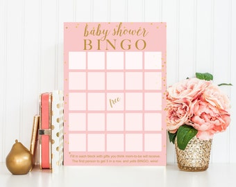Baby Shower Bingo Printable Baby Shower Game - Instant Download - Girls Baby Shower Game - Pink Gold Confetti, Baby Shower Game BAS2