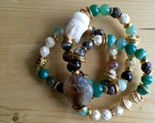 Semi-Precious Trio Bracelet - Brown and Green Botswana Agates - Czech Crystals - Resine Bouddha head
