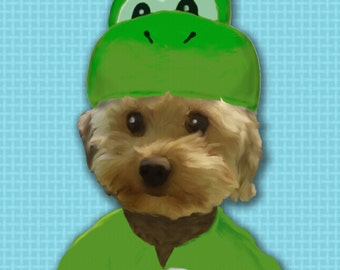 Puppy in Yoshi costume Poster