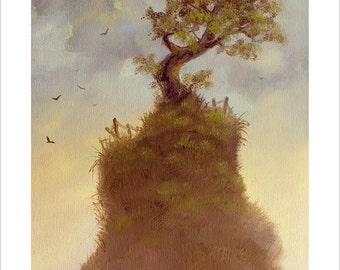 Fantasy Landscape, Tree of life. By award winning artist John Silver. Personally signed A4 or A3 size Print. LA001SP