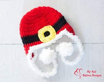 Santa Hat with Buckle - Christmas Hat - Newborn Santa Hat - Child Santa Hat - Santa Hat - Holiday Hat - Baby's First Christmas - Photo Prop