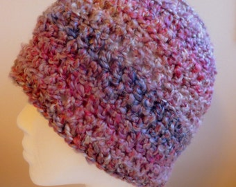 Pink Beanie Hat Pink Crocheted Beanie Hat Crocheted Beanie Hat Multi Colored Pink Beanie Hat