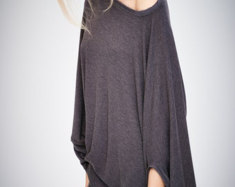 Twisted Brown-Grey Top/ Oversized Asymmetrical Top / Women Clothing / Gift For Her / Loose Grey Top / Casual Blouse by AryaSense/ TEDJ14BG