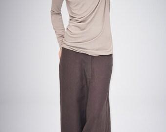 Brown Linen Pants/ Extravagant Drop Crotch Pants/Arya Brown Pants/Chocolate Loose Linen Trousers/ Stylish Harem Pants by AryaSense / PLN14BR