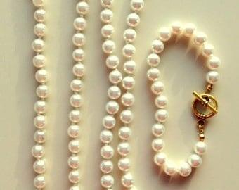Pearl Necklaces and Bracelet Set - Swarovski Glass Pearls Necklace and Bracelet Set