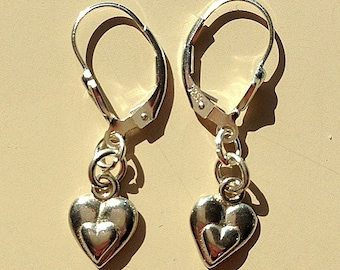 Small Sterling Silver Double Heart Earrings - Choice of Backing Wire or Post