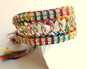 Boho Chic Rainbow Cuff-Tie Bracelet - Multicolor Threads, Chain and Rhinestones