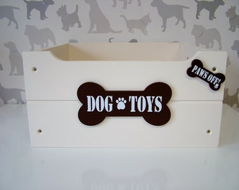Personalised Dog Toy Box - Cream & Brown