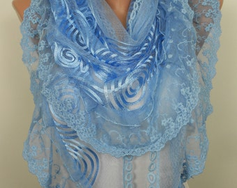 Lace Scarf Blue Scarf Shawl Blue Wedding Scarf Women Spring Summer Fashion Accessory Christmas Valentines Day Mothers Day Gift Ideas For Her