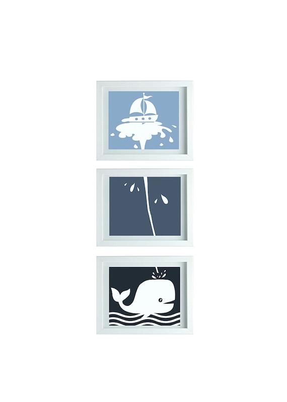 Whale theme decor whale bathroom art whale print ocean decor boys