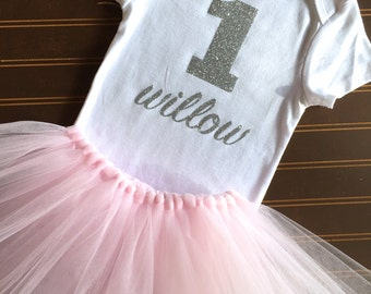 """Silver and pink First Birthday Tutu Set - Silver Onsie """"1"""" - Monogrammed 1st Birthday Outfit - blush pink and Silver Baby Girl Tutu - Tutu"""