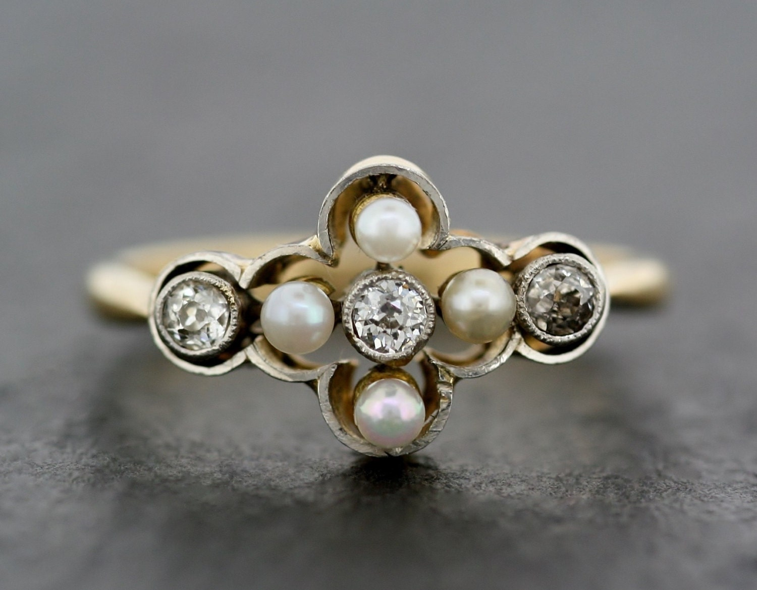 deco ring antique pearl 18ct by alistirwoodtait