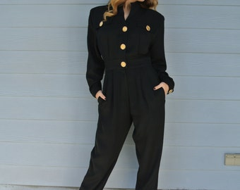 Black Friday Sale 1980s Jumpsuit/Playsuit, Onesie by Lillie Rubin Of Miami, Black Military Style Gold Medallion buttons/ Small