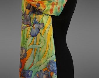 Van Gogh Irises silk scarf. Hand painted silk scarf.  Pure silk scar. Made to order.