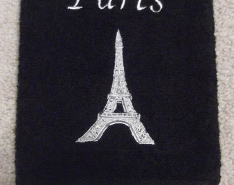 Embroidered ~PARIS EIFFEL TOWER~ Black Bathroom Hand Towel