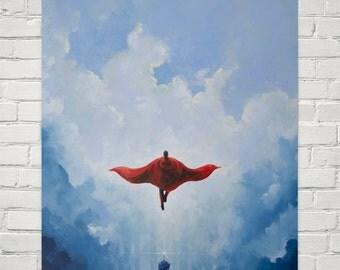 Savior Superman print - Art print of an original Superman Painting