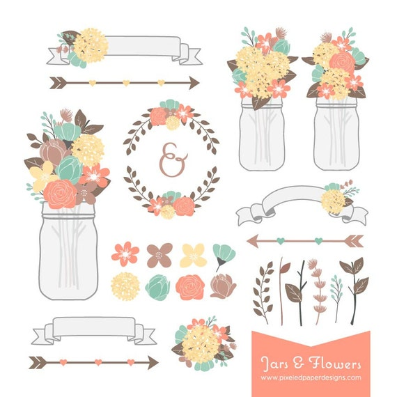 Rustic Flower & Mason Jar Digital Clipart - Graphics for Wedding Invites, Photography, DIY | Commercial License Available