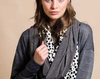 Grey, black and white dots unisex infinity scarf, loop scarf, men's scarf, women's scarf, gift idea