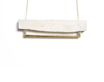 Concrete and Brass Tube Necklace