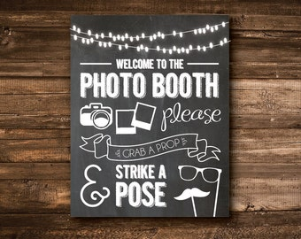 Chalkboard Photo Booth Sign - PRINTABLE FILE