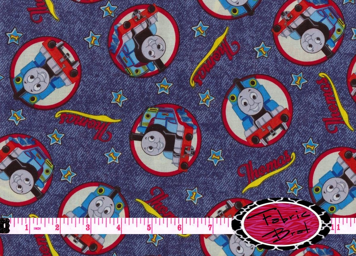 Thomas the train fabric by the yard half yard fat quarter for Train print fabric