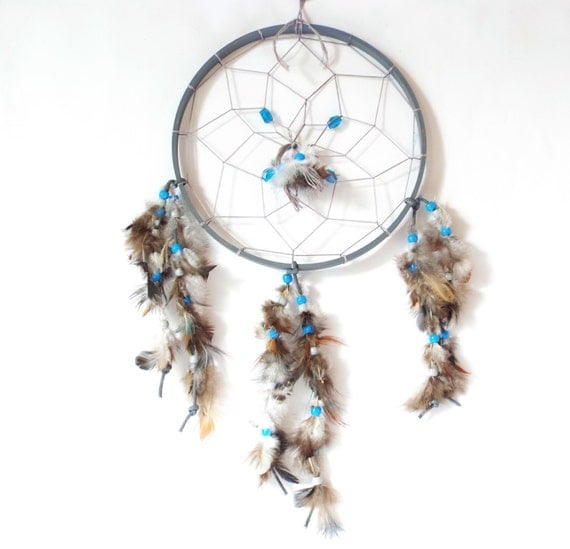 Dream catcher 8 round gray with gray brown feathers and for Dreamcatcher beads meaning