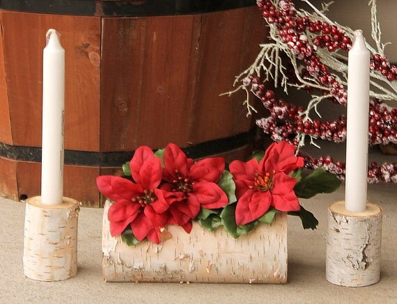 Birch christmas candles and yule log centerpiece by