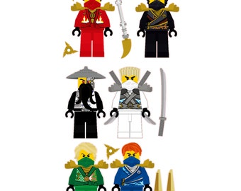 Lego Ninjago 6 Ninjas Removable Wall Stickers Set with free weapons and shuriken throwing stars stickers