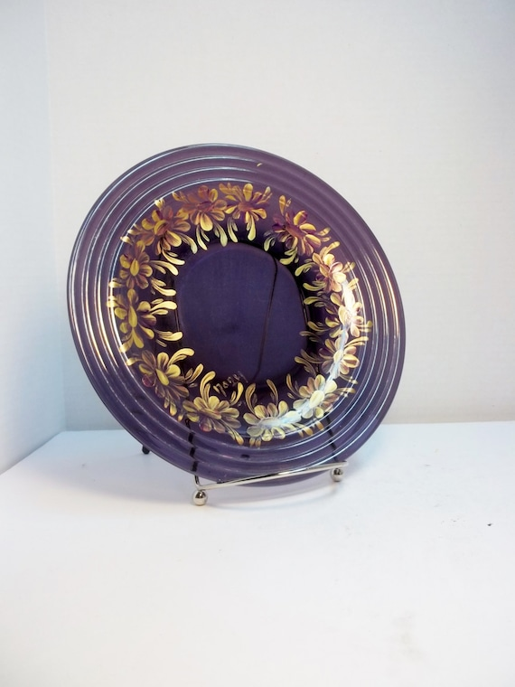 Wall Decor Glass Plates : Amethyst glass plate purple hand painted