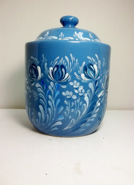 blue stoneware ceramic canister kitchen storage kitchen