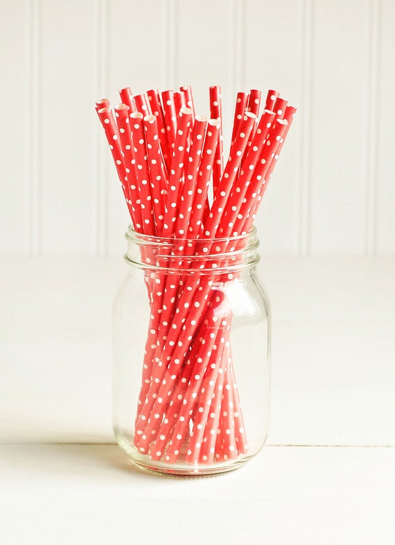 Paper Straws in Red & White Polka Dots - Set of 25 - Valentine's Cute Unique Pretty Wedding Birthday Party Shower Accessories Decor