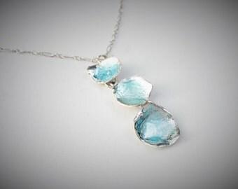 Silver enameled pendant necklace, ocean opelescent green, blue
