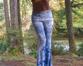 BAMBOO TIE DYE rayon eco palazzo (wide leg, goucho) bell bottom bohemian yoga lounge dance beach resort casual pants with fold waistband