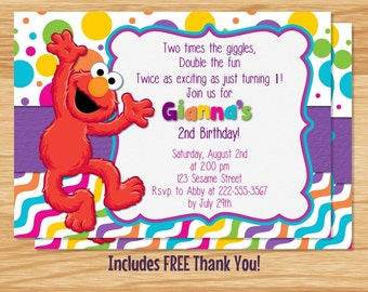Custom Made Elmo Birthday Girl Invitation, Elmo Birthday, Elmo Invitation, Elmo Birthday Invitation, Birthday Girl, Sesame Street, Elmo