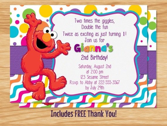 elmo template for invitations - custom made elmo birthday girl invitation elmo birthday elmo