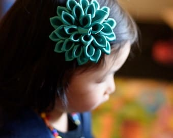 jade ribbon flower girl hair clip - jade girl hair accessories 102