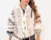 Ready to Ship Bohemian Loop Stitch Fringe Bobble Faux Fur Jacket // Sherpa Coat // Size S/M