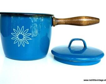 Enamelware, Farmhouse Decor, Enamel Cookware, Vintage Enamel, Enamel Pot, Enamel Pot Blue, Enamelware Cookware, Enameled Cookware, Blue Pans