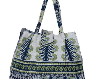 KANTHA Bag - Small - Stone colour with pale green and black
