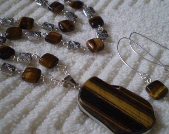 "Tigers Eye Antique Silver Necklace & Earrings Set - 19 1/4"" Necklace - 2 1/8"" Earrings"