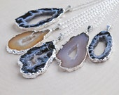 Silver Agate Slice Necklace, Agate Slice Jewelry, Silver Geode Jewelry